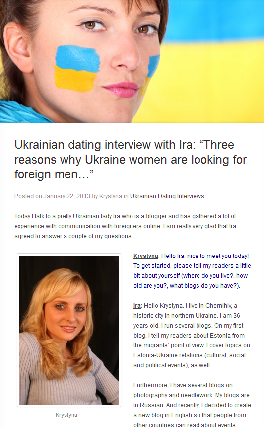 ukraine dating blog Every week a new post about russian and ukrainian dating scene in canada cqmi marriage agency is here to help you find your wife in ukraine or russia we organize romance tour to ukraine every 2 months.