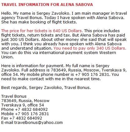 Russian Scammer Sabova